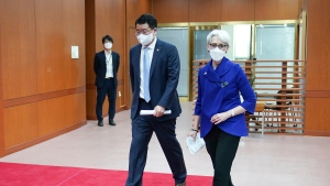 In this photo provided by South Korea Foreign Ministry, U.S. Deputy Secretary of State Wendy Sherman, right, walks with South Korean First Vice Foreign Minister Choi Jong Kun after their meeting at the Foreign Ministry in Seoul, South Korea, Friday, July 23, 2021. America's No. 2 diplomat on Friday expressed sympathy for North Koreans facing hardships and food shortages linked to the pandemic, and renewed calls for the North to return to talks over its nuclear program. (South Korea Foreign Ministry via AP)