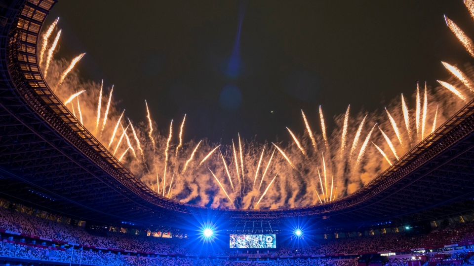 Fireworks kick off the opening ceremonies for the Tokyo Olympics in Tokyo, Japan on Friday, July 23, 2021. THE CANADIAN PRESS/Frank Gunn