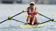Carling Zeeman, of Canada, competes in the women's single sculls at the 2020 Summer Olympics, Friday, July 23, 2021, in Tokyo, Japan. (AP Photo/Darron Cummings)