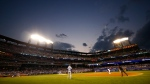 New York Mets pitcher Tylor Megill delivers a pitch to Toronto Blue Jays' Alejandro Kirk during the fifth inning of a baseball game Friday, July 23, 2021, in New York. (AP Photo/Adam Hunger)