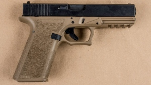 One of the firearms seized by Peel police in a Brampton home, where five suspects accused of kidnapping a man were arrested. (Peel Regional Police)