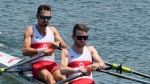 Patrick Keane and Maxwell Lattimer, of Canada, compete in the lightweight men's double scull at the 2020 Summer Olympics, Saturday, July 24, 2021, in Tokyo, Japan. (AP Photo/Darron Cummings)