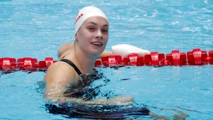 Canada's Penny Oleksiak reacts after her heat of the women's 50m butterfly at the World Swimming Championships in Gwangju, South Korea, Friday, July 26, 2019. (AP Photo/Lee Jin-man)