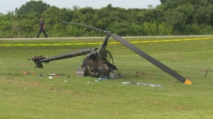 A pilot is in hospital with unknown injuries after a helicopter crashed in Brantford Sunday morning.
