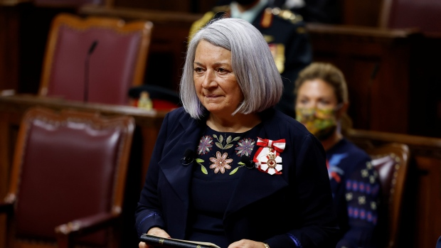 Mary Simon is sworn in as the Governor General of Canada during a ceremony in the Senate chamber in Ottawa on Monday, July 26, 2021. THE CANADAIAN PRESS/Blair Gable - POOL