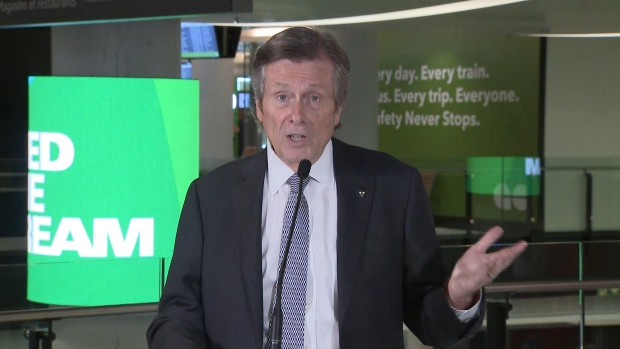 Mayor John Tory is shown inside a revitalized Bay Street concourse at Union Station on Tuesday morning.