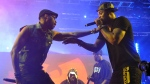 This April 21, 2013, file photo shows Robert Fitzgerald Diggs, aka RZA, left, and Clifford Smith, aka Method Man, of Wu-Tang Clan, right, performing at the second weekend of the 2013 Coachella Valley Music and Arts Festival in Indio, Calif.  (Photo by John Shearer/Invision/AP, File)