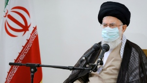 In this photo released by an official website of the office of the Iranian supreme leader, Supreme Leader Ayatollah Ali Khamenei speaks in a meeting in Tehran, Iran, Friday, July 23, 2021. (Office of the Iranian Supreme Leader via AP)