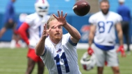 Buffalo Bills wide receiver Cole Beasley (11) makes a catch during NFL football practice in Orchard Park, N.Y., Wednesday, June 2, 2021. (AP Photo/Jeffrey T. Barnes)