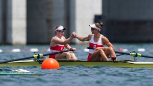Canadian rowers Caileigh Filmer and Hillary Janssens compete in the Women's Pair semi-finals during the Tokyo 2020 Olympic Games on Wednesday, July 28, 2021. THE CANADIAN PRESS/HO, COC, Darren Calabrese *MANDATORY CREDIT*