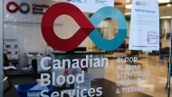 A blood donor clinic pictured at a shopping mall in Calgary, Alta., Friday, March 27, 2020. Scientists have been poring over COVID-19 data in an effort to better understand the still unknown aspects of the virus. The key to unlocking some of those mysteries could be in our blood. Canadian Blood Services is reassuring the public that donated blood from those who have had COVID-19 or from those receiving the vaccine is perfectly safe. THE CANADIAN PRESS/Jeff McIntosh