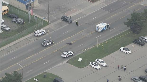 Police are investigating a fatal collision in Etobicoke. (Chopper 24)