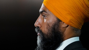 NDP Leader Jagmeet Singh holds a press conference on Parliament Hill in Ottawa on Wednesday, July 21, 2021. THE CANADIAN PRESS/Sean Kilpatrick