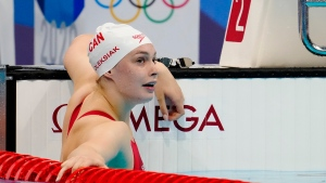 Canada's Penny Oleksiak reacts following the women's 100m freestyle final during the Tokyo Summer Olympic Games, in Tokyo, Friday, July 30, 2021. THE CANADIAN PRESS/Frank Gunn