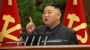 In this photo provided by the North Korean government, North Korean leader Kim Jong Un speaks during a Politburo meeting of the ruling Workers' Party in Pyongyang, North Korea, Tuesday, June 29, 2021. The content of this image is as provided and cannot be independently verified.(Korean Central News Agency/Korea News Service via AP)