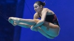 Pamela Ware of Canada performs a dive during the women's 3-metre springboard final at the FINA Diving World Series in Montreal, Sunday, March 1, 2020. THE CANADIAN PRESS/Graham Hughes
