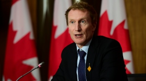Marc Miller, Minister of Indigenous Services, holds a press conference in Ottawa on Wednesday, June 23, 2021. (THE CANADIAN PRESS/Sean Kilpatrick)