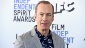 """FILE - Bob Odenkirk arrives at the 35th Film Independent Spirit Awards on Feb. 8, 2020, in Santa Monica, Calif. The """"Better Call Saul"""" star says he """"had a small heart attack"""" but will """"be back soon."""" The 58-year-old actor took to Twitter Friday, July 30, 2021, to make his first public statement since collapsing on the show's New Mexico set three days earlier. (Photo by Jordan Strauss/Invision/AP, File)"""