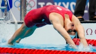 Canada's Kylie Masse competes in the women's 200m backstroke semifinal during the Tokyo Summer Olympic Games, in Tokyo, Friday, July 30, 2021. THE CANADIAN PRESS/Frank Gunn