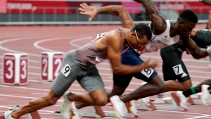 Canada's Andre De Grasse competes in the men's 100m heats event during the Tokyo Summer Olympic Games, in Tokyo, Saturday, July 31, 2021. THE CANADIAN PRESS/Frank Gunn