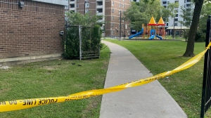 A shooting near a playground in North York left a 12-year-old boy injured on Friday night. (Mike Nguyen/ CP24)