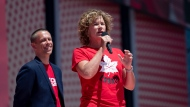 Marnie McBean, a three time Olympic gold medalist in rowing, speaks after being named the Olympic chef de mission for the Tokyo 2020 Summer Games during the Canada Day noon show on Parliament Hill in Ottawa on Monday, July 1, 2019. THE CANADIAN PRESS/Justin Tang