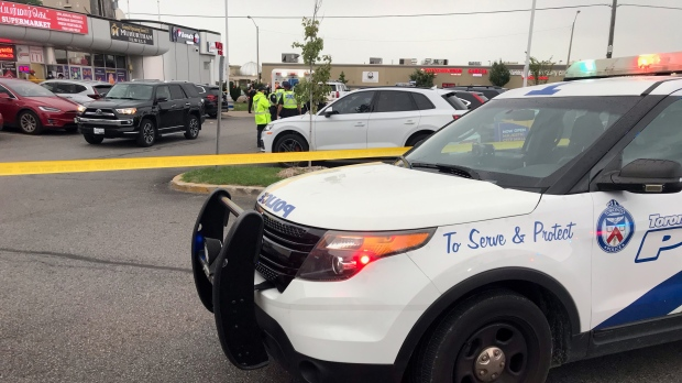 Police are investigating after a child was fatally struck in a parking lot in Scarborough. (CP24/Simon Sheehan)
