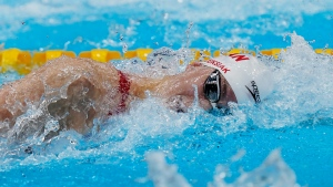Canada's Penny Oleksiak swims to a bronze medal in the women's 4 x 100m medley relay final during the Tokyo Summer Olympic Games, in Tokyo, Sunday, August 1, 2021. THE CANADIAN PRESS/Adrian Wyld