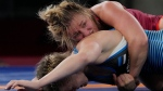 Canada's Erica Elizabeth Wiebe, right, and Estonia's Epp Maee compete during the women's 76kg Freestyle wrestling match at the 2020 Summer Olympics, Sunday, Aug. 1, 2021, in Chiba, Japan. (AP Photo/Aaron Favila)
