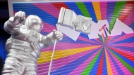 """In this Aug. 20, 2018, file photo, an MTV statue appears on the red carpet at the MTV Video Music Awards at Radio City Music Hall in New York. MTV is marking its 40th anniversary with a relaunch of its iconic image of an astronaut on the moon, with an MTV flag planted nearby. On Sunday, Aug. 1, 2021 the video channel unveiled a large scale """"Moon Person"""" during a ceremony at NASA's Kennedy Space Center in Cape Canaveral, Florida. (Photo by Evan Agostini/Invision/AP, File)"""