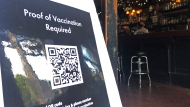 A proof of vaccination sign is posted at a bar in San Francisco on Thursday, July 29, 2021. Until now, many employers had taken a passive approach to their unvaccinated workers, relying outreach and incentives. But that has been shifting, with vaccine mandates gaining momentum. (AP Photo/Haven Daley)