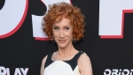 """FILE - Comedian Kathy Griffin appears at the premiere of the film """"Child's Play"""" in Los Angeles on June 19, 2019. Griffin has revealed that she is undergoing surgery for lung cancer and her doctors are optimistic she """"should be up and running around as usual in a month or less."""" The comedian took to Instagram and Twitter Monday to say her cancer is considered stage one and confined to her left lung. (Photo by Chris Pizzello/Invision/AP, File)"""