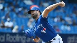 Toronto Blue Jays' Robbie Ray pitches in the first inning of a baseball game against the Cleveland Indians, in Toronto on Monday, August 2, 2021. THE CANADIAN PRESS/Jon Blacker