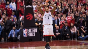 Toronto Raptors guard Kyle Lowry (7) reacts in the finals seconds of second half NBA Eastern Conference finals basketball action against the Milwaukee Bucks, in Toronto on Saturday, May 25, 2019. THE CANADIAN PRESS/Nathan Denette