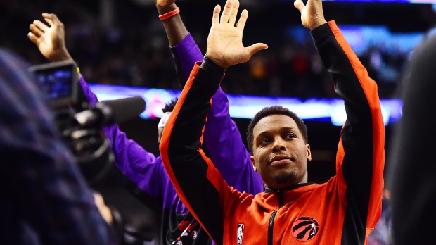 FILE - Toronto Raptors guard Kyle Lowry acknowledges the crowd as they cheer after him becoming the all-time franchise leader in assists during the second half of NBA basketball action against the Atlanta Hawks in Toronto on Tuesday, January 28, 2020. THE CANADIAN PRESS/Frank Gunn
