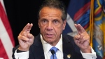 New York Gov. Andrew Cuomo speaks during a news conference at New York's Yankee Stadium, Monday, July 26, 2021. (AP Photo/Richard Drew)
