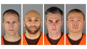 This combination of photos provided by the Hennepin County Sheriff's Office in Minnesota on Wednesday, June 3, 2020, shows from left, former Minneapolis police officers Derek Chauvin, J. Alexander Kueng, Thomas Lane and Tou Thao. Three of the former Minneapolis police officers charged with violating George Floyd's civil rights are asking that their federal trials be separated from Chauvin's, who has already been convicted on state murder charges for kneeling on Floyd's neck as the Black man pleaded for air. (Hennepin County Sheriff's Office via AP File)