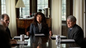 Ken Bolden as professor Plum, left to right, Sandra Oh as Ji-Yoon, and Mark Philip Stevenson as professor Pollack are seen in a publicity still handout photo on set of the show 'The Chair.' Oh faces controversy as the first female chair in the English department of a prestigious university in Netflix's 'The Chair.' THE CANADIAN PRESS/HO-Netflix, Eliza Morse