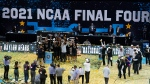 Baylor players and coaches celebrate after the championship game against Gonzaga in the men's Final Four NCAA college basketball tournament in Indianapolis, in this Monday, April 5, 2021, file photo. (AP Photo/Darron Cummings, File)