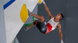Canada's Sean McColl competes in Bouldering at the Men's Combined Sport Climbing event during the summer Tokyo Olympics in Tokyo, Japan on Tuesday, August 3, 2021. THE CANADIAN PRESS/Nathan Denette