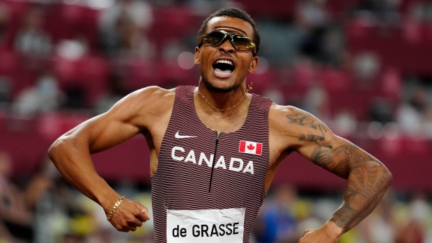 Canada's Andre De Grasse races to a gold medal in the Men's 200m final during the Tokyo Olympics in Tokyo, Japan on Wednesday, August 4, 2021. THE CANADIAN PRESS/Frank Gunn