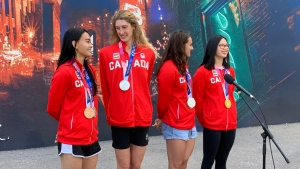 Maggie Mac Neil, Kylie Masse, Taylor Ruck, and Kayla Sanchez are seen in this photo outside CP24.