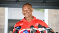 Tony Sharpe speaks to reporters in Pickering, Ont., Wednesday, Aug. 4, 2021. THE CANADIAN PRESS/Christopher Katsarov