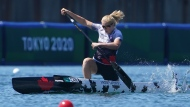 Laurence Vincent-Lapointe, of Canada, competes during the canoe sprint women's C-1 200m semi-finals at the 2020 Summer Olympics, Thursday, Aug. 5, 2021, in Tokyo, Japan. THE CANADIAN PRESS/Nathan Denette