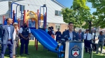 Crime Stoppers and police unveiled a revamped playground at 10 Alton Towers Circle, where two young girls were shot in 2018. (Francis Gibbs/ CTV News Toronto)