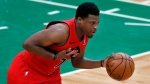 FILE - Toronto Raptors' Kyle Lowry plays against the Boston Celtics during the first half of an NBA basketball game, Thursday, Feb. 11, 2021, in Boston. (AP Photo/Michael Dwyer)