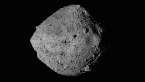 FILE - This undated image made available by NASA shows the asteroid Bennu from the OSIRIS-REx spacecraft. On Wednesday, Aug. 11, 2021, scientists said they have a better handle on asteroid Bennu's whereabouts for the next 200 years. The bad news is that the space rock has a slightly greater chance of clobbering Earth than previously thought. But don't be alarmed: Scientists reported that the odds are still quite low that Bennu will hit us in the next century. (NASA/Goddard/University of Arizona/CSA/York/MDA via AP)