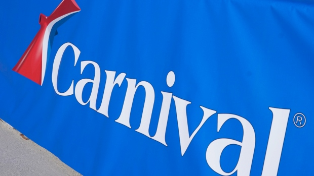 This Jan. 29, 2021 file photo shows a Carnival Cruise Line sign at PortMiami in Miami.  (AP Photo/Lynne Sladky, File)