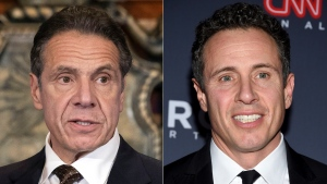 New York Gov. Andrew M. Cuomo appears during a news conference about the COVID-19at the State Capitol in Albany, N.Y., on Dec. 3, 2020, left, and CNN anchor Chris Cuomo attends the 12th annual CNN Heroes: An All-Star Tribute at the American Museum of Natural History in New York on Dec. 9, 2018.  (Mike Groll/Office of Governor of Andrew M. Cuomo via AP, left, and Evan Agostini/Invision/AP)