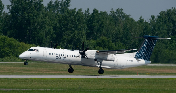 A Porter flight lands at the airport Wednesday July 3, 2019 in Ottawa. THE CANADIAN PRESS/Adrian Wyld